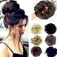Real Curly Messy Bun Hair Piece Scrunchie Hair Extensions Chignon Hair