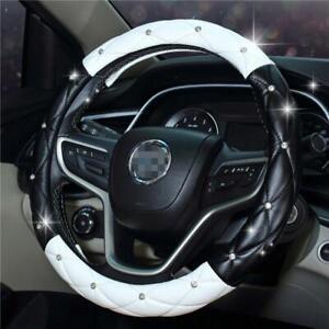 Steering Wheel Cover 38cm black& white steering wheel cover Glove Soft For Ford