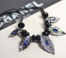 New Vintage Carved Leaf Beaded Crystal Leather Strap Pendant Necklace Gift