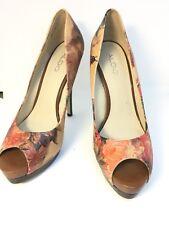 "Aldo Ladies Size UK 6 EUR 39 Floral Roses Brown Pink High Heel Shoes 5.5"" Retro"