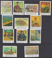 Granada: 1991 muerte Centenario De Van Gogh Set + M/Hojas SG2240-51 + MS2252 Estampillada sin montar