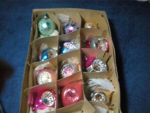 Vintage Christmas Ornaments balls 9 indents 12 px lot