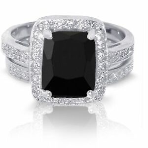 Large Emerald Cut Black Onyx Wedding Engagement Sterling Silver Ring Set