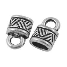 Wholesale Metal Alloy End Caps Antique Silver Oval 2 x 4mm 5 Packs Of 30