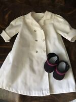 American Girl Samatha Travel Duster Trench Coat + Clog Shoes Very Good Cond