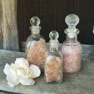 Glass Perfume Bottle LOT(3) Clear Glass Pink Decor Vanity Shabby Chic Wedding