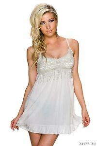 Sexy Babydoll Minikleid Kleid Longtop Top mit Spitze Oxford Tan Beige 34 36 38