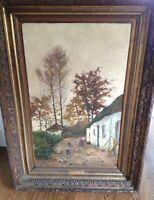 """Signed Original """"Cour de Ferme (Malaise)"""" Lucien Frank (1857-1920) Oil on Canvas"""