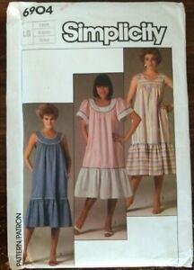 Vintage '80s House Dress MuuMuu Simplicity 6704 L 18-20 Sewing Pattern 1985