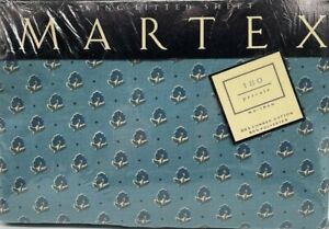 VTG Martex King fitted sheet Avignon II blue floral 180 tc percale no-iron NIP