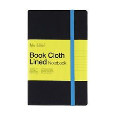 Luna - Medium Lined Cloth Notebook, Black Cover - Blue, New