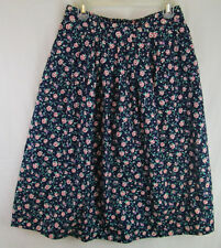 Vintage F. Shay Skirt Boston USA 100% Cotton Sz 18 Navy Blue Pink Roses Flowers