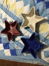 Longaberger Woven Traditions Pottery Stars-Paprika, Cornflower, Ivory