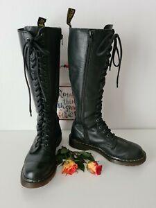 Dr Doc Martens 1B60 20 eye black knee high boots soft leather UK6 EU39 US8
