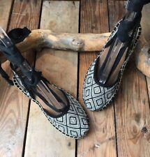 TOMS Womens Bella Espadrille Woven Diamond Black White Tie Up MSRP $70 Sz 5 AB6
