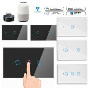 Smart WiFi Lichtschalter Wandschalter Glas Touch Wandsteckdose Alexa/Google/App