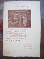 1903 DIVINA COMMEDIA CANTO XVII PARADISO DI ISIDORO DEL LUNGO E DANTE A VERONA