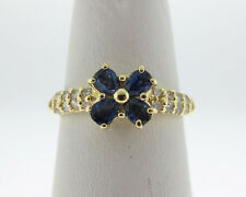 Estate Natural Blue Sapphires Diamonds Solid 18k Yellow Gold Flower Ring