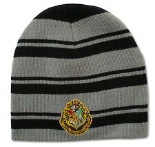 "HARRY POTTER ""CREST"" BLACK/GREY STRIPE KNIT BEANIE HAT NEW OFFICIAL ADULT OSFM"