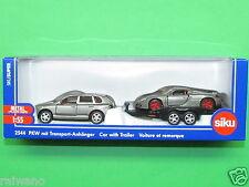 1:55 Siku Super 2544 Porsche graualuminiummetallic mit Transport-Anhänger