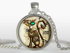 Vintage CAT Cabochon Tibetan silver Glass Chain Pendant Necklace