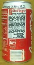 COCA-COLA 1995 SIX FLAGS GREAT ADVENTURE Coke Soda CAN Grade 1