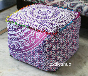 """18"""" Mandala Square Ottoman Pouf Cover Indian Handmade Footstool Seating Cover"""