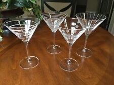 "4 MARTINI GLASSES CLEAR WITH ETCHED FROSTED PATTERNS  ~ 7 3/8""  ~  NICE"