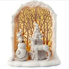 Lenox Illuminations Lit Woodland Scene Deer Snowman Bunny New In Box