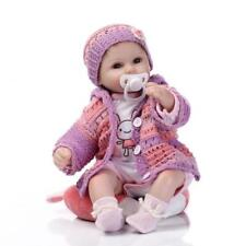 Reborn Baby Doll Girl Silicone Baby Doll Eyes Open With Clothes Hair 16inch P9T3