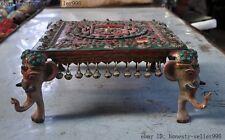 Old Tibet Bronze Turquoise Coral kwan-yin buddha Elephant head Bell Table desk