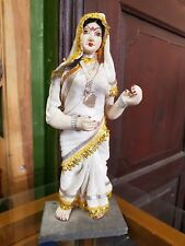 1940 Vintage Handmade Indian Woman White Saree Traditional Wear Porcelain Doll