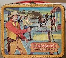 "VINTAGE-RARE ""GUNSMOKE"" MATT DILLON METAL LUNCH BOX 1959 BY ALADDIN (No Thermos)"