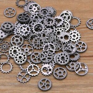 60PCS 10 Color Small Size 8-15mm Mix Alloy Mechanical Steampunk Cogs & Gears Diy