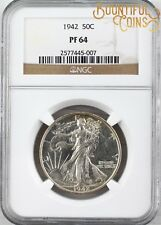 ~1942 NGC PF 64 Walking Liberty Half Dollar 50C Proof PR Fifty Cents (M175)~