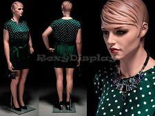 Plus Size Female Fiberglass Mannequin with Molded Hair Dress form #MZ-AVIS3