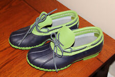 RARE LL BEAN Duck Boots Women 7M Green Black Short Ankle Shoes Leather