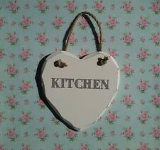 New Shabby Chic Wooden Hanging Heart KITCHEN Sign Plaque