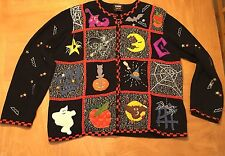 STUDIO TREATS HALLOWEEN SWEATER 2X CARDIGAN BAT CAT WITCHES HAT PUMPKIN