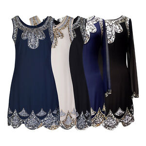 1920's Vtg Flapper Downton Gatsby Charleston Chiffon Sequin Dress Dress 8 - 24