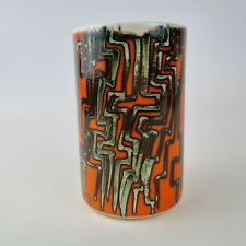 More details for unusual vintage retro poole pottery vase orange with decoration 14.5cm high