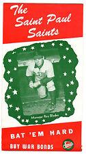 1946 St. Paul Saints Roster & Schedule  - VG to Excellent Original