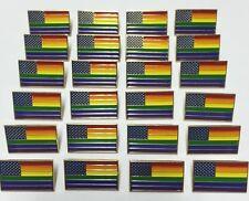 """New listing Lot Of 24 New Gay Pride Rainbow America Flag Enamel 1"""" Lapel Pins Us Badge Usa"""