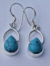 STERLING SILVER 25mm.DROP EARRINGS with TURQUOISE CABOCHON STONES £14.95 NWT