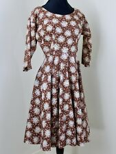 Vintage 1950s Dress S Cotton Circle Skirt Scooped Neck Rhinestones Atomic Print