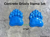"""Cement Concrete Plaster STAMP grizzly bear paw 5"""" BORDER ART STAMPS Mats New"""