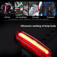 USB Rechargeable Bike Rear Tail Light LED Bicycle Warning Safety Smart Lamp Z