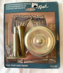 KIRSCH DRAPERY/WINDOW/CURTAIN HOLDBACKS/TIE BACKS/SCARF HOLDERS GOLD MEDALLIONS