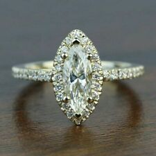 14k Yellow Gold 2ct Marquise Cut CZ Engagement Ring