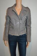 NWT Barbara Bui Grey Leather Moto Jacket w/Studs Size 40 $2,475